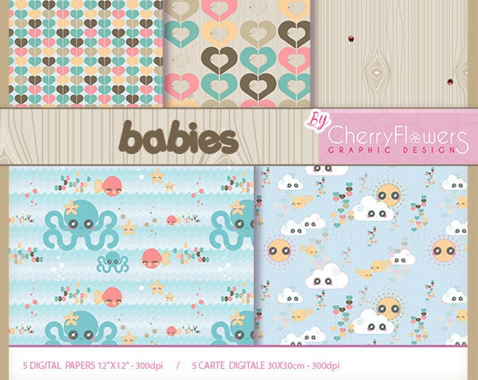 Digital scrapbooking paper, printable cards, children's bedroom, drawing minnows, background hearts, clouds, birds, wood background