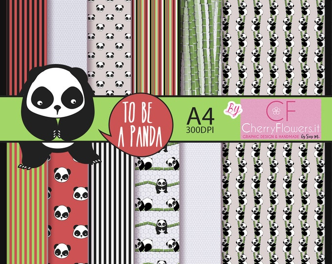 Panda, digital paper, printable graphics, A4 black white red green, scrapbooking pandas, canes, leaves, lines, invitations