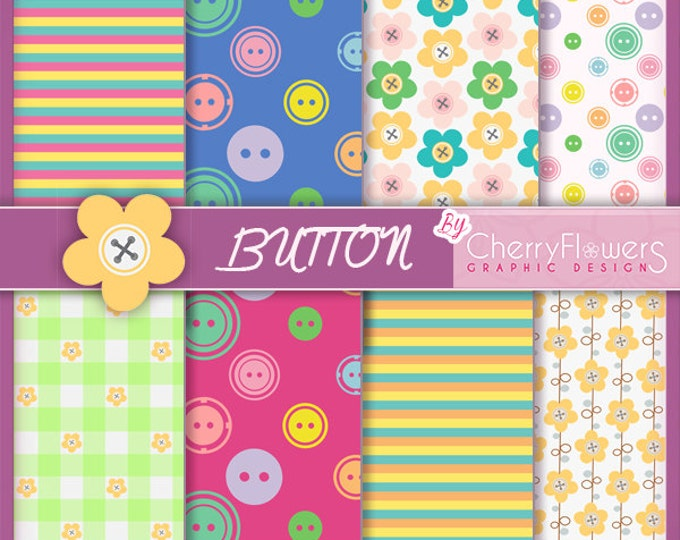 Digital paper scrapbooking-buttons-blue red yellow fuchsia green-flowers square lines-sewing, invitations, labels, decoupage, printing