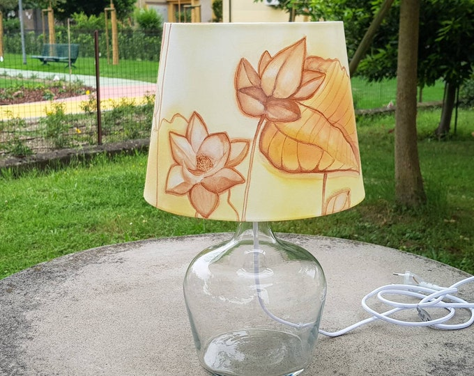 Table lamp, hand painted lampshade, fabric lampshade, glass lamp, Mother's gift lamp, country lamp, Italian lamp