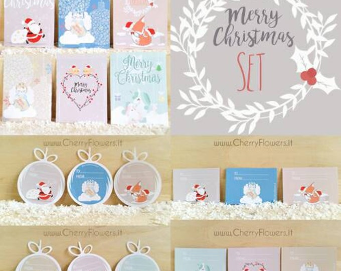 Christmas Set Postcards + greeting cards + Sticker stickers-Placemarks