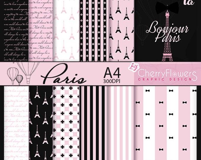 Paris digital paper, scrapbooking sheets, printable cards, illustration Paris, France theme Paris, Eiffel Tower, wedding invitation sheets