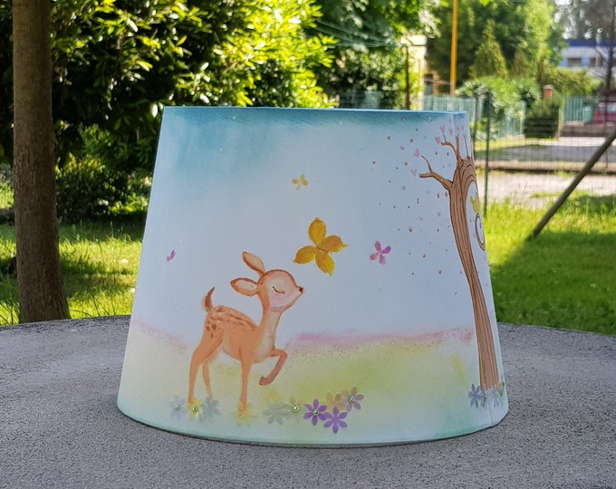 Shade for children's bedroom theme Bosco-nightlight-lamp shade for hand painting-illustrations for kids-bedroom decor
