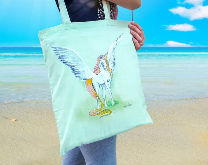 Cotton Shopper, Custom shopper bag, cloth shopper, hand painted handbag, shoulder bag, unicorn bag, mint green, sea bag