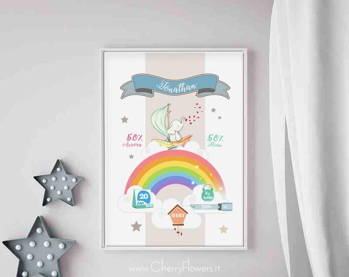 Quadro nascita, poster cameretta, disegno personalizzato, quadretto nascita bimbo, stampa A4, illustrazione per bambini stampabile