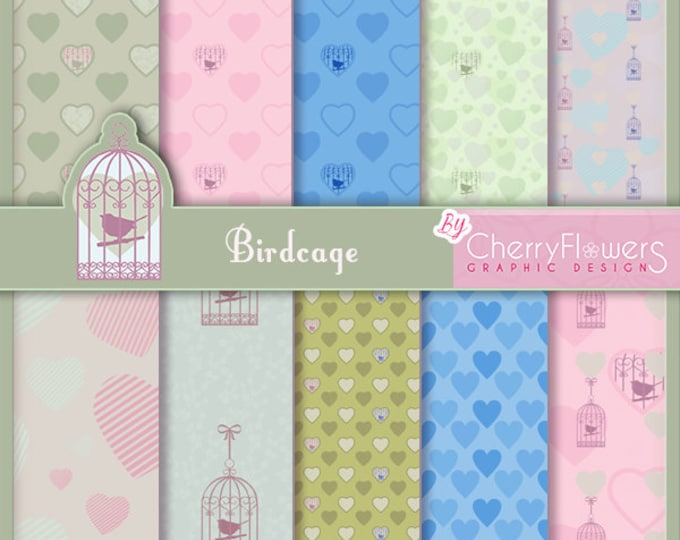 Digital scrapbooking paper, illustrations to print, scrap paper, bird cage, wedding invitations, heart, vintage cage