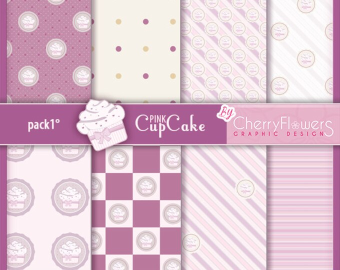 Digital scrapbooking paper, printable sheets, pastry pictures, printed illustrations, pastry wallpapers, Pink cupcake
