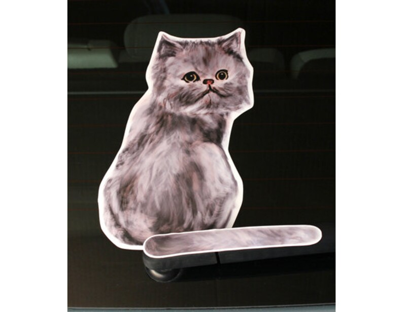 Generic Cat illus A and Animal rear window wiper sticker 10 inches tall