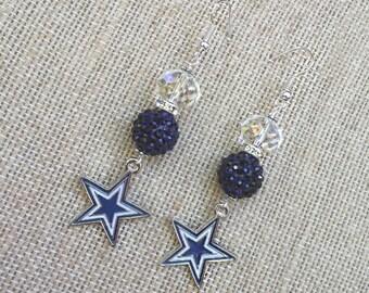 Cowboys Earrings, Dallas Cowboys, Cowboys Jewelry, Cowboys Bling, Cowboys Gift for Women, Gameday, Tailgating, Charm, Star, Football Earring
