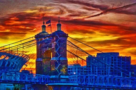 Sunset Over the Roebling Bridge