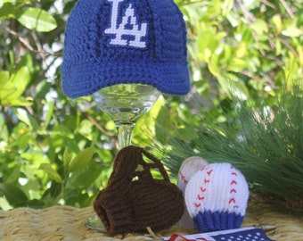 cd9826a7c21 Baby BASEBALL Hat with Glove Ball Mittens
