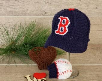 ff141c600 Boston Red Sox Baby Hat, Baby Baseball Glove, Newborn Baseball  Glove/Mittens, Boston Red Sox Baby, Boston Red Sox Baby Boy