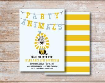 Party Animal DIY Printable Birthday Invitation with back design
