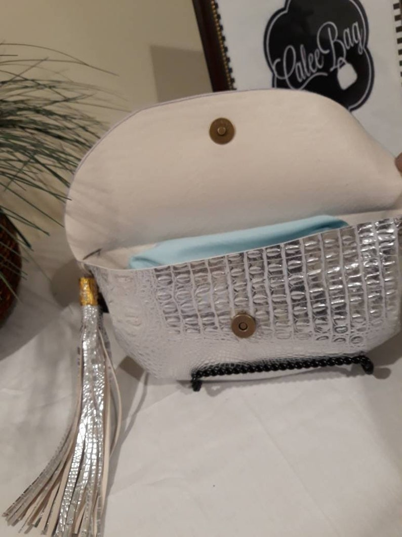 Silver Fanny Pack with Snap Closure