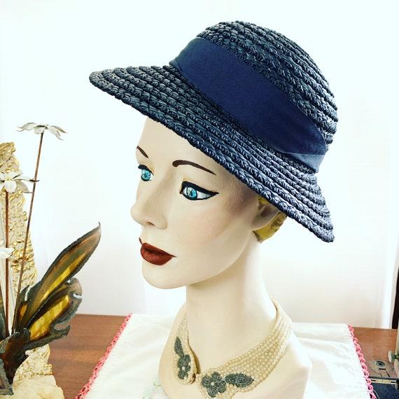 40s Navy Blue Straw Hat, 40s Blue Summer Hat, 40s… - image 9