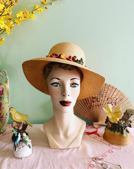 50s Straw Hat, 40s Straw Hat, Vegetable Straw Hat,