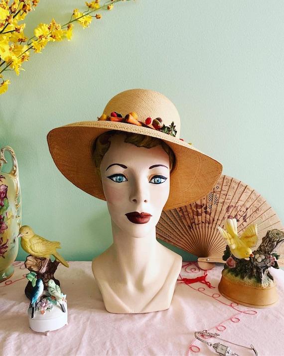 50s Straw Hat, 40s Straw Hat, Vegetable Straw Hat,