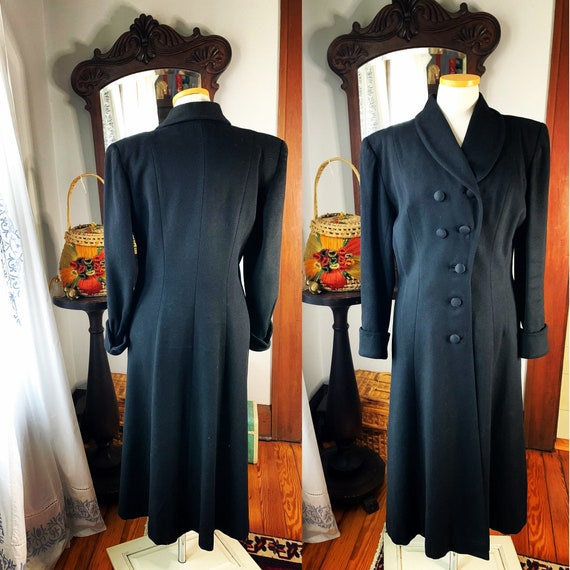 40s Black Princess Coat, 40s Black Full Length Pow