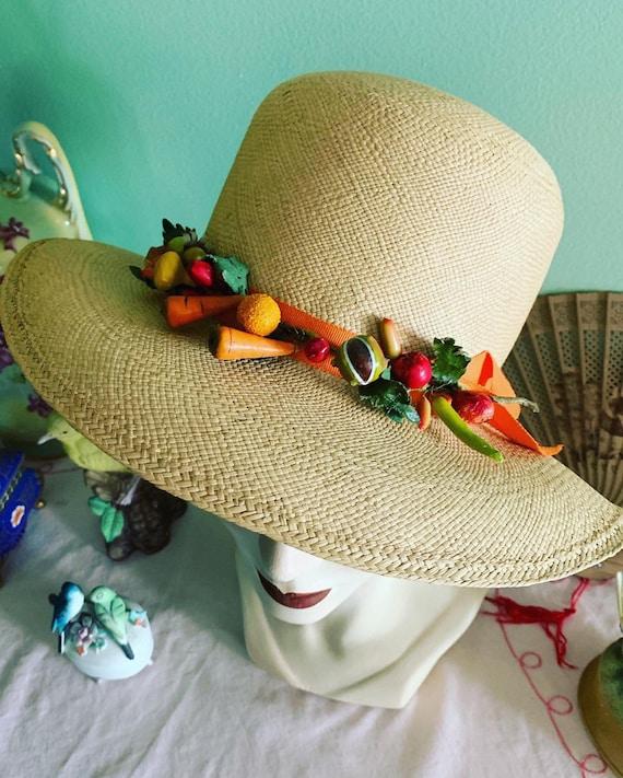 50s Straw Hat, 40s Straw Hat, Vegetable Straw Hat… - image 4