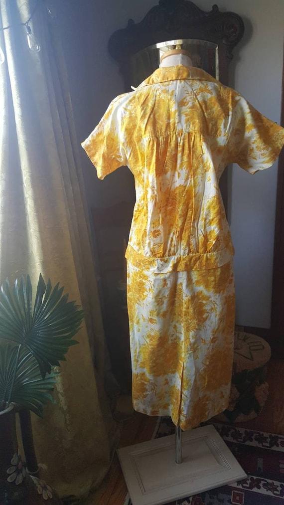 1940s Mustard Yellow Dress, 40s Volup Size Golden… - image 5
