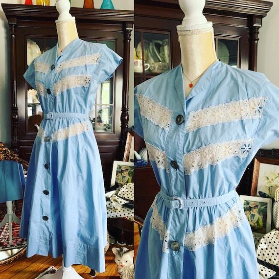 50s Carlye Blue Cotton Dress, Late 40s Carlye Dres