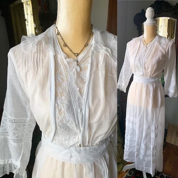 Victorian White Dress, Edwardian White Dress, Vint