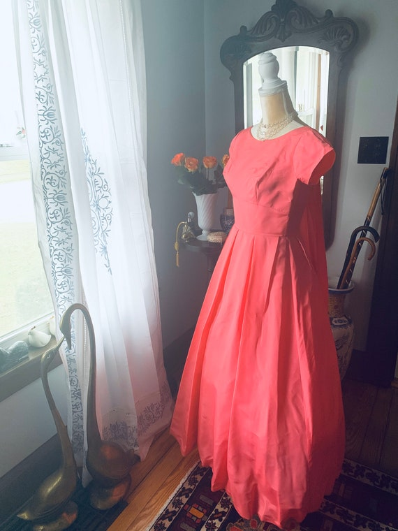 50s Pink Fishtail Dress, 50s Pink Formal Dress, 5… - image 4