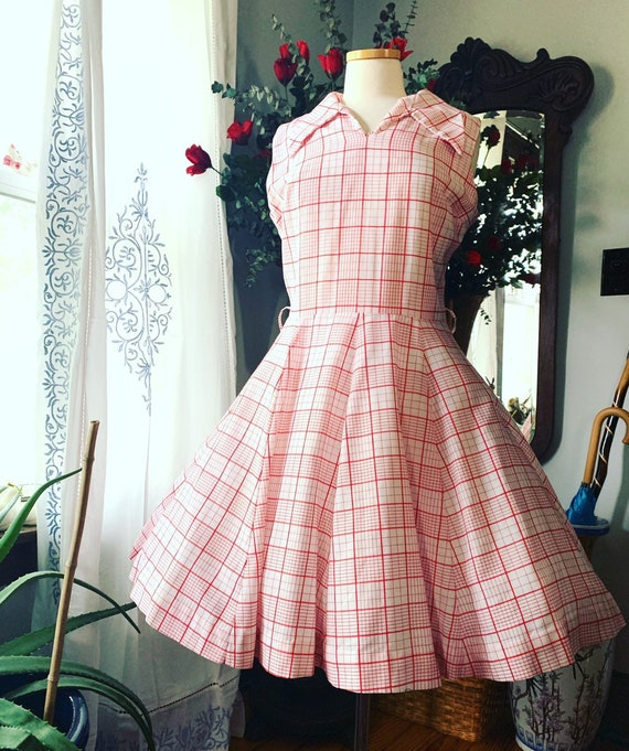 50s Checkered Dress, 50s Dress Size Medium, 50s Re