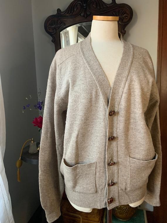 Vintage Pendleton Cardigan, Vintage Tan Wool Leath