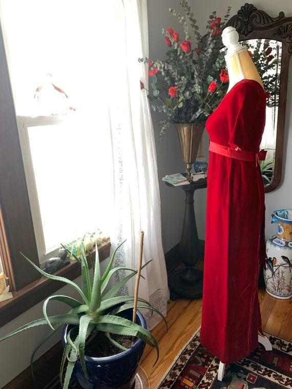 Vintage Red Velvet Dress, 60s Red Velvet Dress, F… - image 7