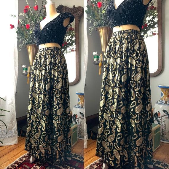 Vintage Metallic Skirt, Vintage Long High Waist S… - image 9