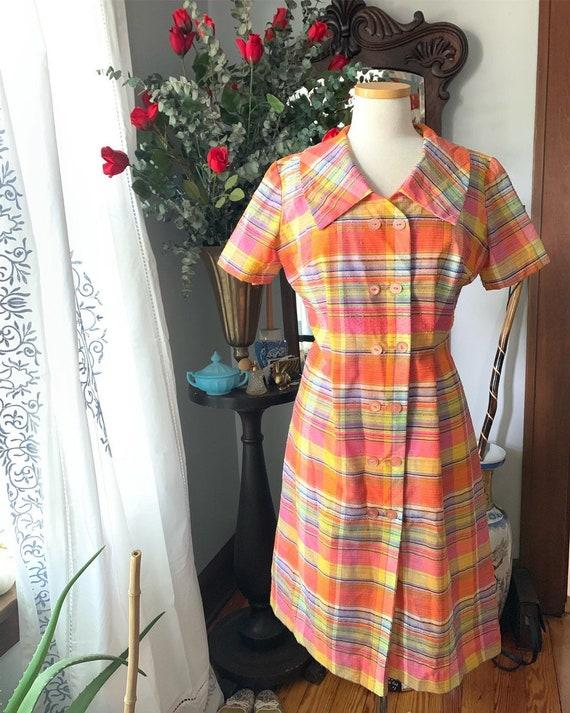 50s Orange Pink Striped Dress, Vintage 60s Dress,