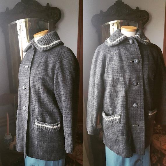 50s Grey Wool Plaid Coat, 1950s Grey Wool Coat, 40