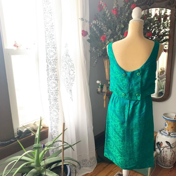 50s Iridescent Green Wiggle Dress, 50s Green Dres… - image 5