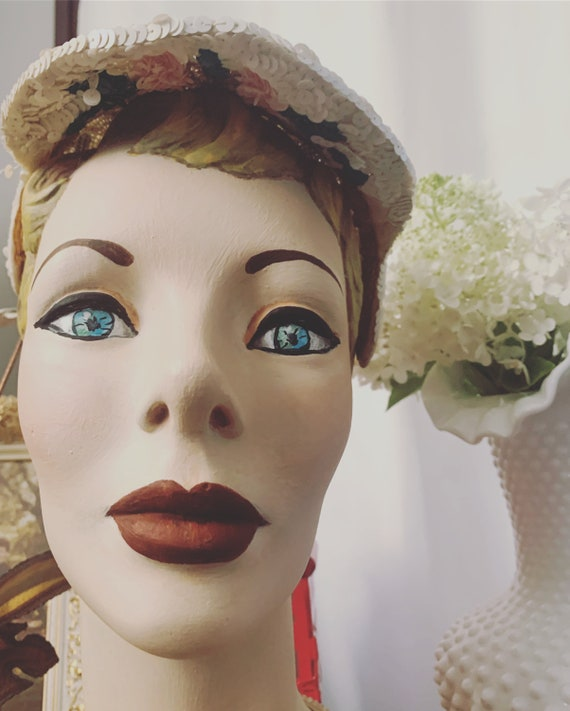 50s Sequined Visor Hat, 50s Sequined Pink Flower … - image 5