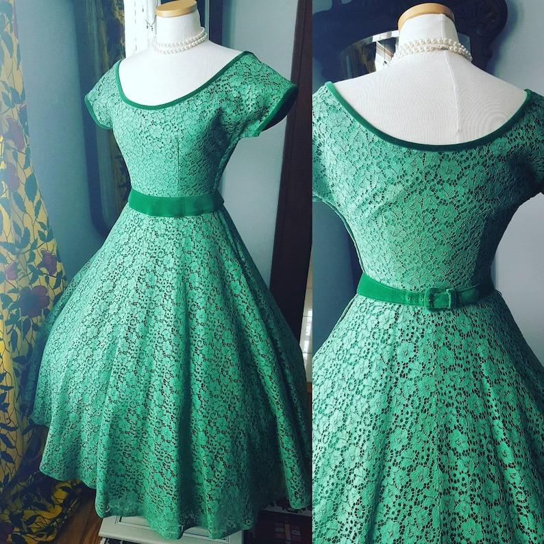 730118cade1 50s 1950s Vintage Green Lace Velvet Dress Full Skirt Fit and