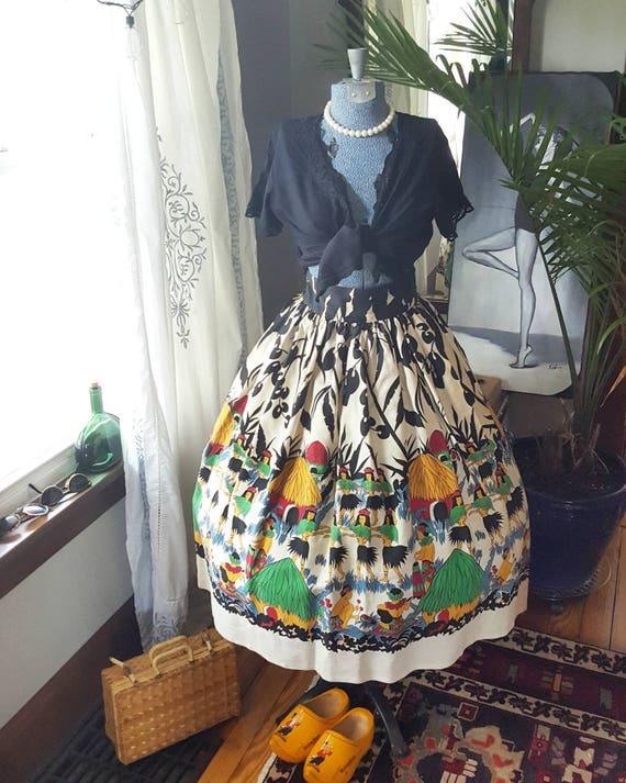 1950s Amazing 1940s 50s Souvenir Full Medium Skirt Harbor 50's 40s Pearl Skirt to Vintage Small Unique Hawaiian Novelty Print 40's Rare xwwpR8f