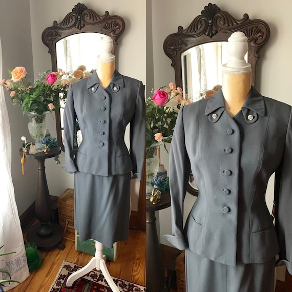 40s Grey Suit, Rothmoor Dress Suit, Vintage Slate
