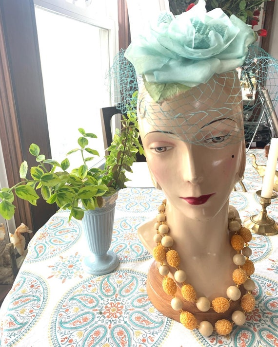 50s Blue Rose Fascinator, 50s Rose Mini Hat, 50s … - image 3