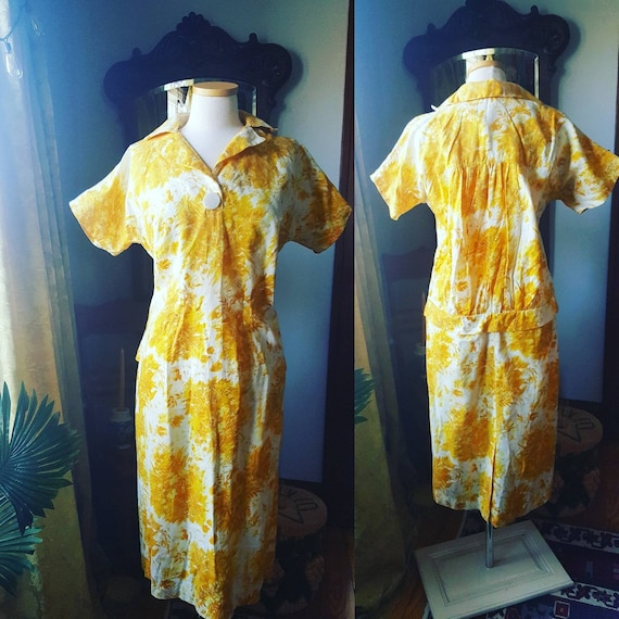 1940s Mustard Yellow Dress, 40s Volup Size Golden