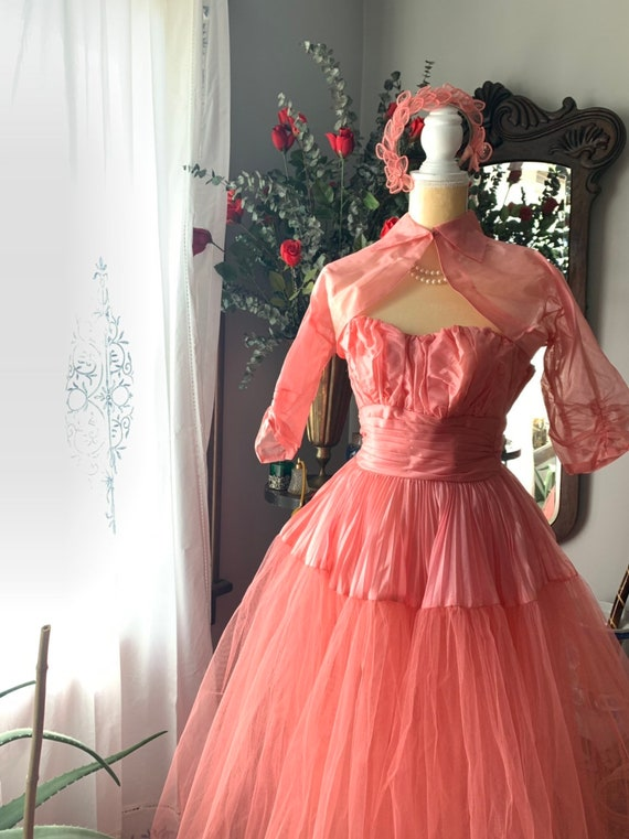 50s Rose Pink Tulle Dress, 50s Pink Tulle Dress, … - image 4