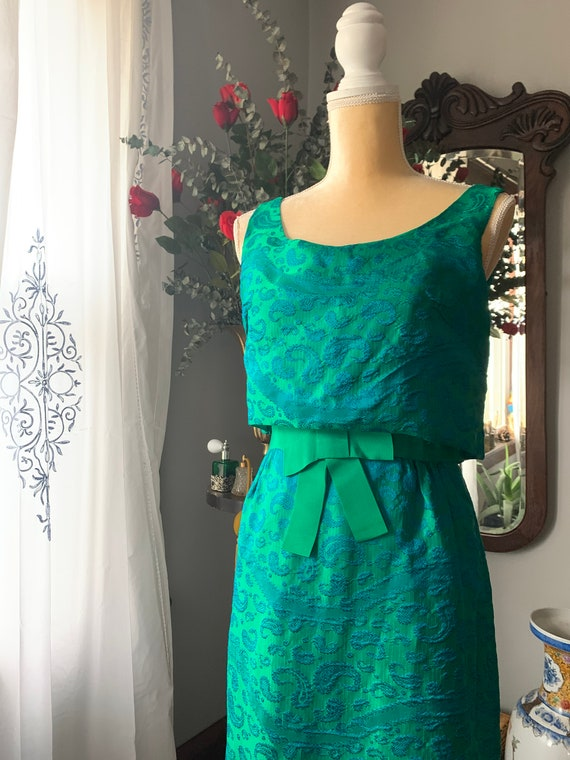 50s Iridescent Green Wiggle Dress, 50s Green Dres… - image 9
