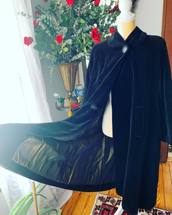 40s Velvet Swing Coat, 40s Black Velour Coat, 40s… - image 6