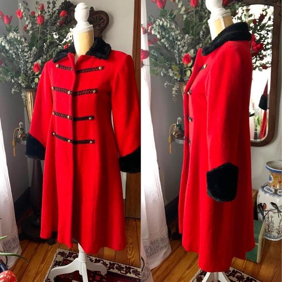 Vintage Red Princess Coat, Vintage Red Wool Fit A… - image 10