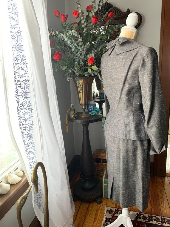 40s Grey Dress Suit, 40s Leslie Fay Pencil Suit, … - image 4