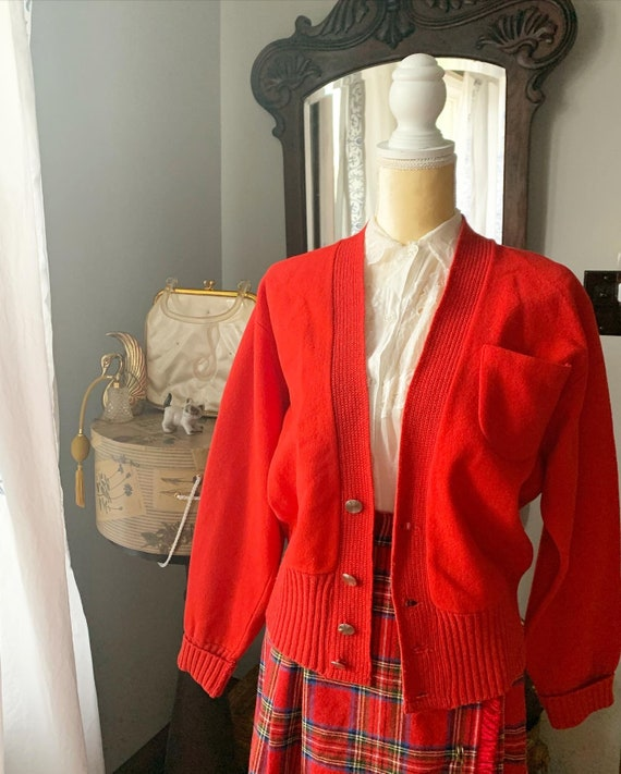50s Red Rugby Cardigan, Vintage Red Men's Cardigan