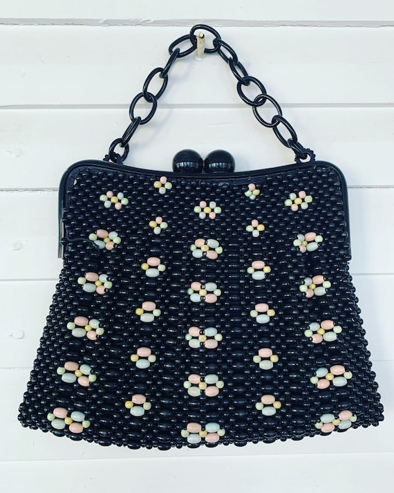 40s Black Beaded Handbag, 40s Plastic Beaded Purse