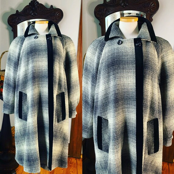 Vintage Plaid Coat, 90s Plaid Swing Coat, Vintage