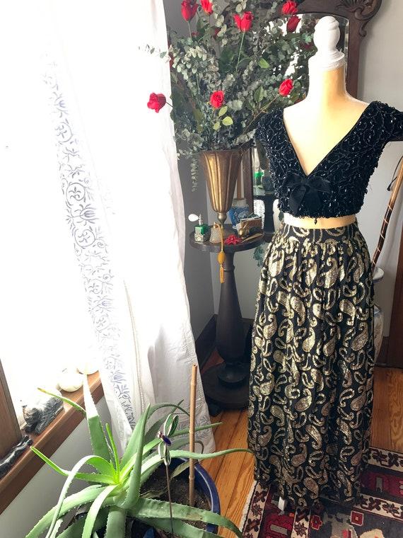 Vintage Metallic Skirt, Vintage Long High Waist S… - image 7