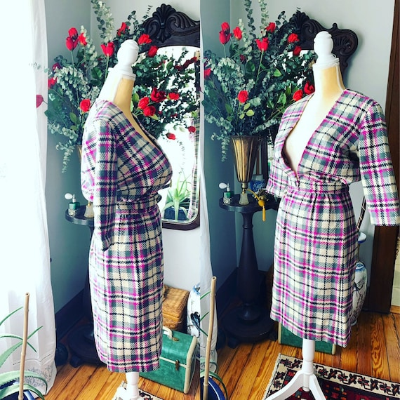 60s Purple Plaid Suit, 50s Purple Plaid Dress, Vin